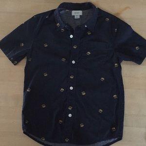 Old Navy short sleeve cheeseburger print shirt